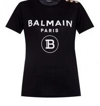 Balmain Balmain T-Shirt mit Samtlogo schwarzgold