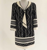 Elisabetta Franchi Elisabetta Franchi Boxy Kleid mit Print und Details schwarz