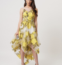 Forever Unique Forever Unique Paris asymmetrical midi dress with floral print yellow