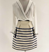 Philosophy Di Lorenzo Serafini Philosophy Di Lorenzo Serafini tweed skirt with stripe print white