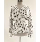 Silvian Heach Silvian Heach Sidob blouse met stippenprint wit
