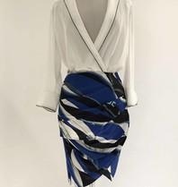Elisabetta Franchi Elisabetta Franchi wrap skirt with blue multicolor print
