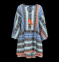 Devotion Devotion Zakar Ioanna jurk met print blauw oranje