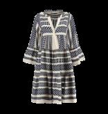 Devotion Devotion midi Ella dress with print navy blue white