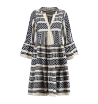 Devotion Devotion midi Ella dress with print navy blue white