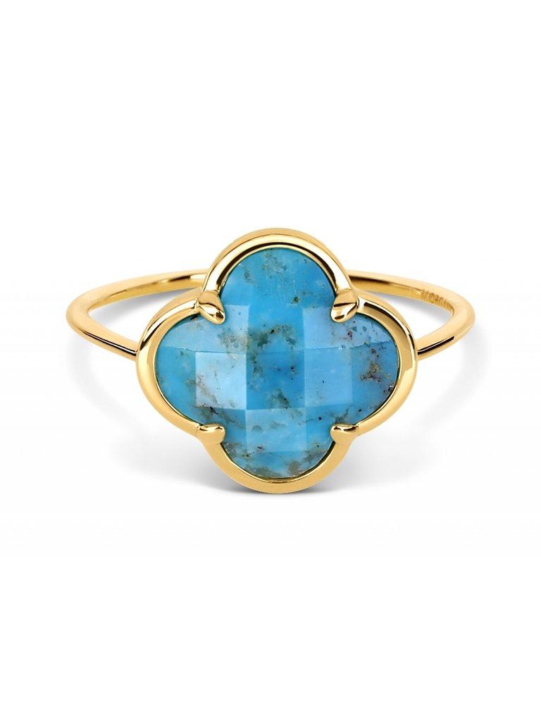 Morganne Bello Morganne Bello ring met turquoise korset steen geelgoud