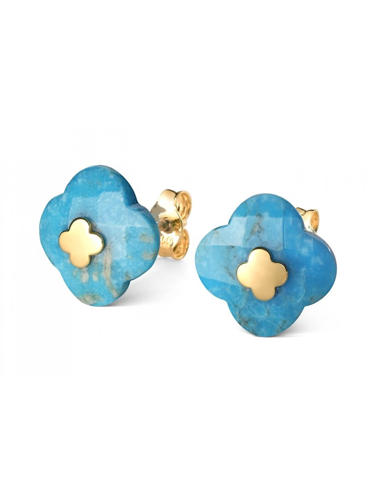 Morganne Bello Morganne Bello oorbellen turquoise geelgoud