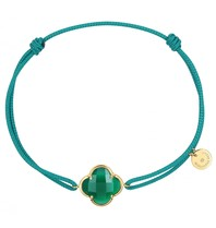 Morganne Bello Morganne Bello koord armband met agaat steen groen geelgoud