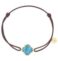 Morganne Bello Morganne Bello koord armband met steen turquoise geelgoud