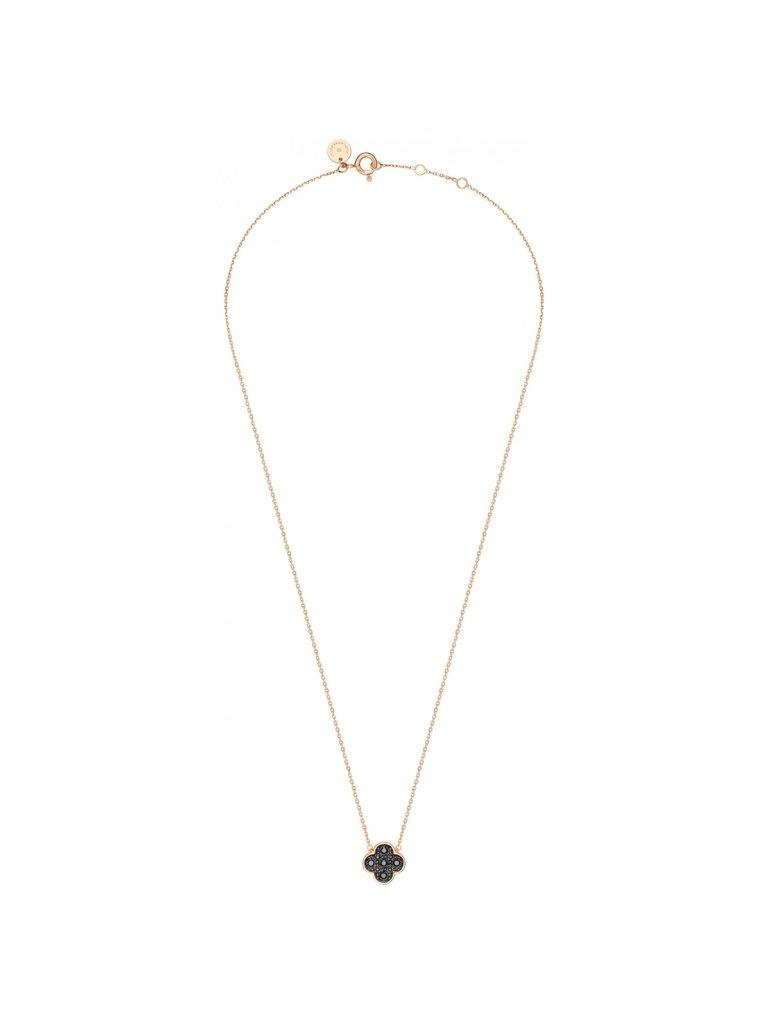 Morganne Bello Morganne Bello Halskette mit Klee Stein schwarzer Diamant Roségold