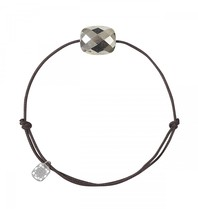 Morganne Bello Morganne Bello cord bracelet pyrite stone dark brown
