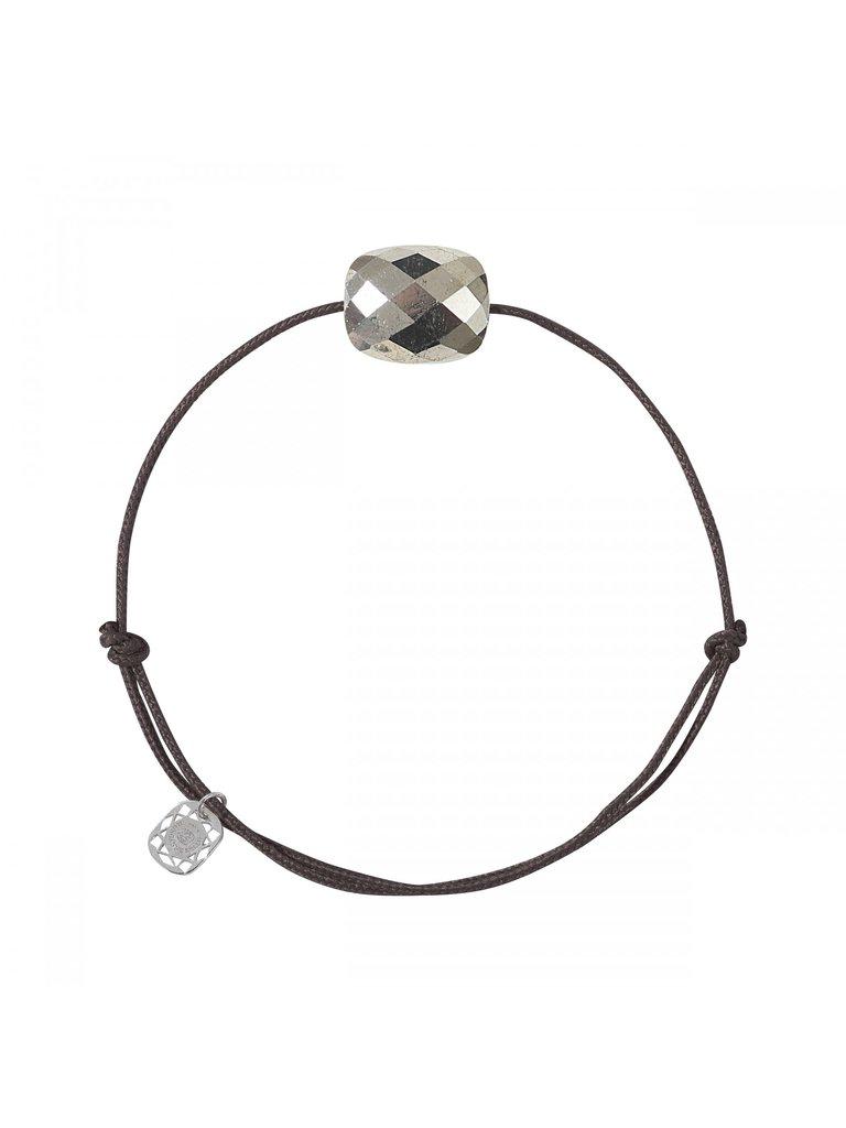 Morganne Bello Morganne Bello cord bracelet pyrite stone dark brown