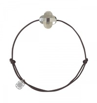 Morganne Bello Morganne Bello cord bracelet pyrite clover stone dark brown