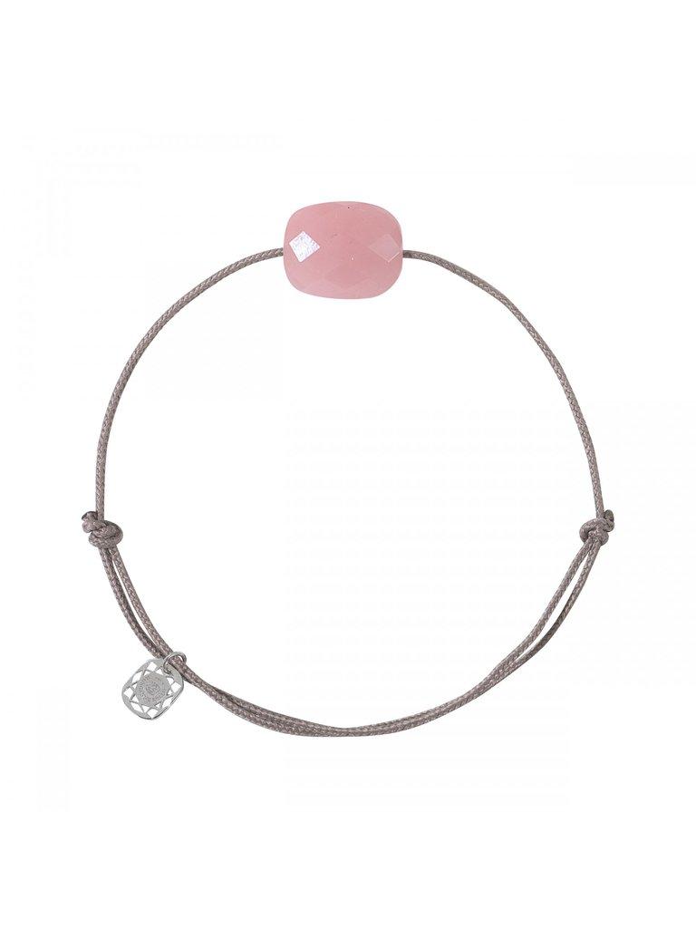 Morganne Bello Morganne Bello cord bracelet with guava stone taupe