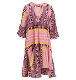 Devotion Andacht Zakar Kleid mit Druck rosa gelb