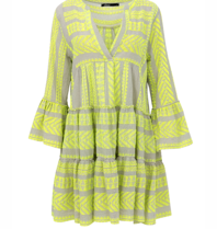 Devotion Devotion Zakar dress with print and volant neon yellow gray
