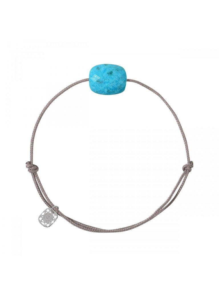 Morganne Bello Morganne Bello koord armband met coussin steen turquoise