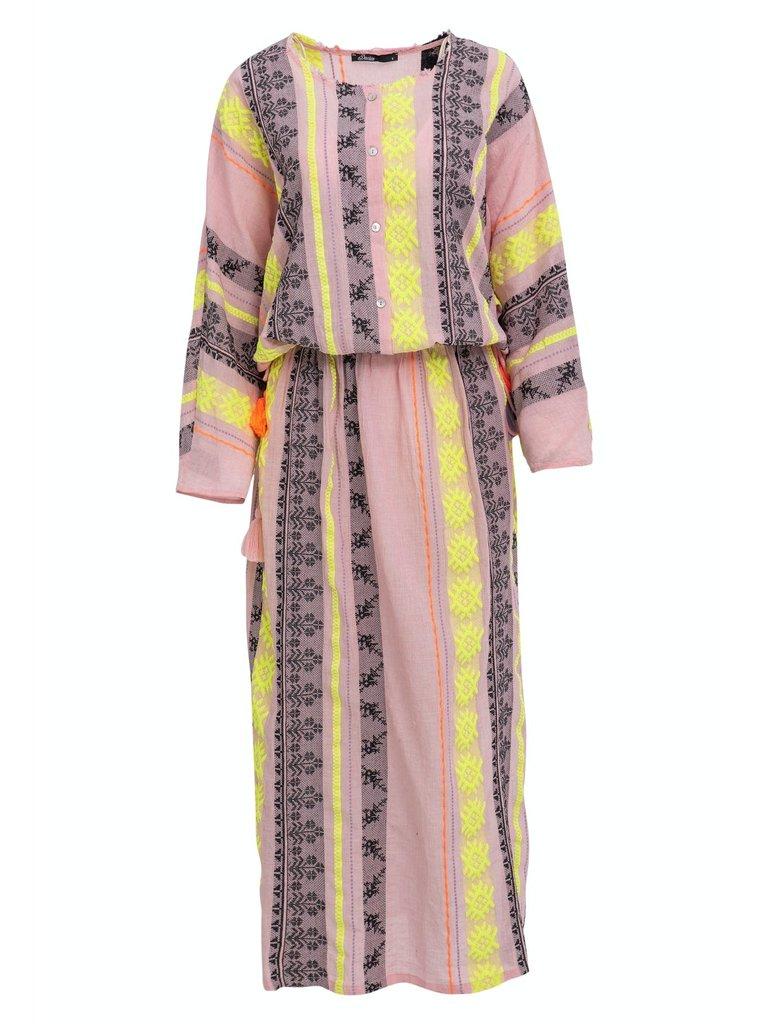 Devotion Devotion maxi Zakar Mariana dress with print pink yellow