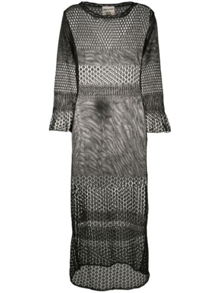 Semicouture Semicouture mesh midi dress with split black