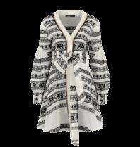 Devotion Hingabe Zakar Eleni Kleid mit Druck schwarz und weiß