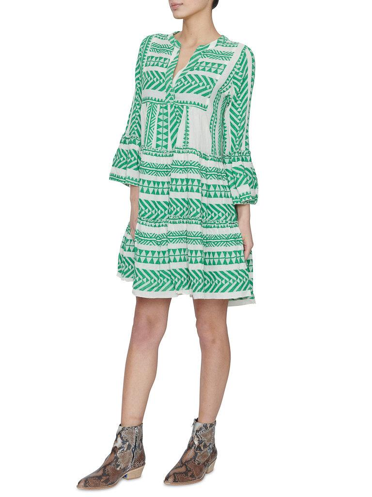Devotion Hingabe Ella Kleid mit Druck und Volant grün weiß