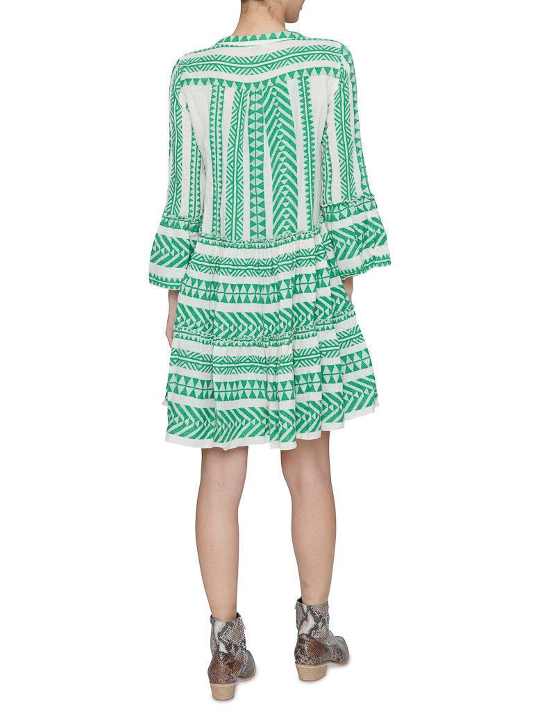 Devotion Devotion Ella dress with print and valance green white