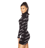 La Sisters La Sisters Knitted Logo mini jurk zwart
