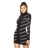 La Sisters La Sisters Knitted Logo mini dress black