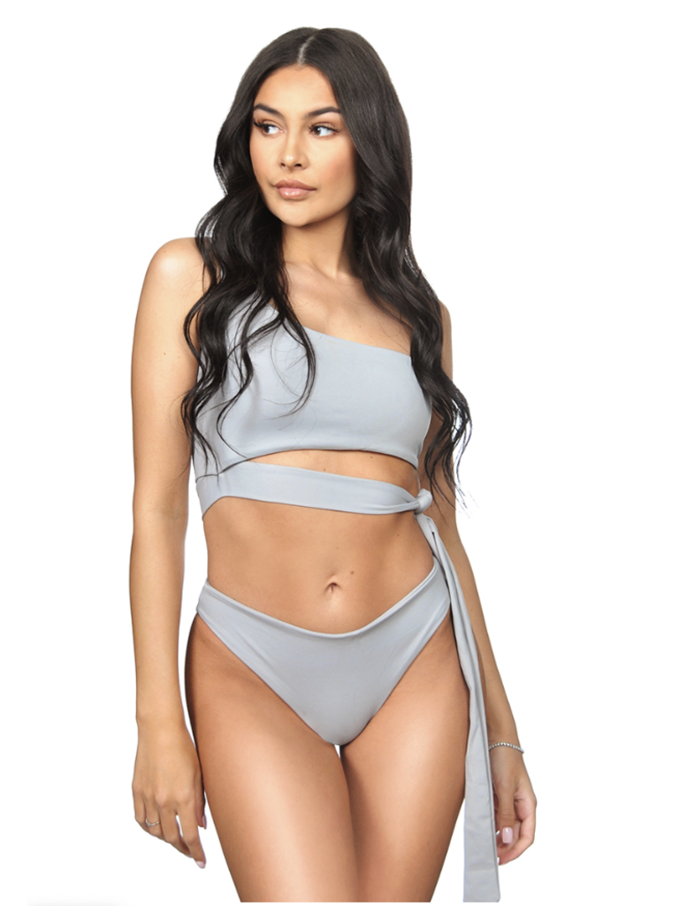 La Sisters LA Sisters Off-shoulder Tie Bikini gray