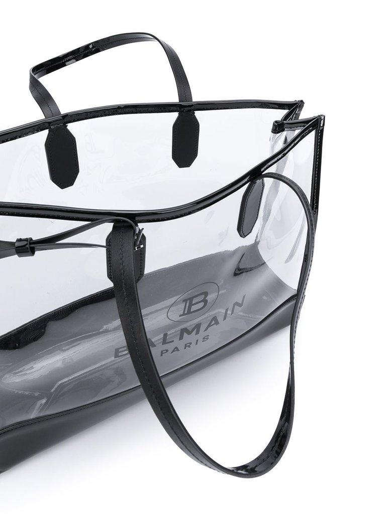 Balmain Balmain see through Tote bag with black logo print