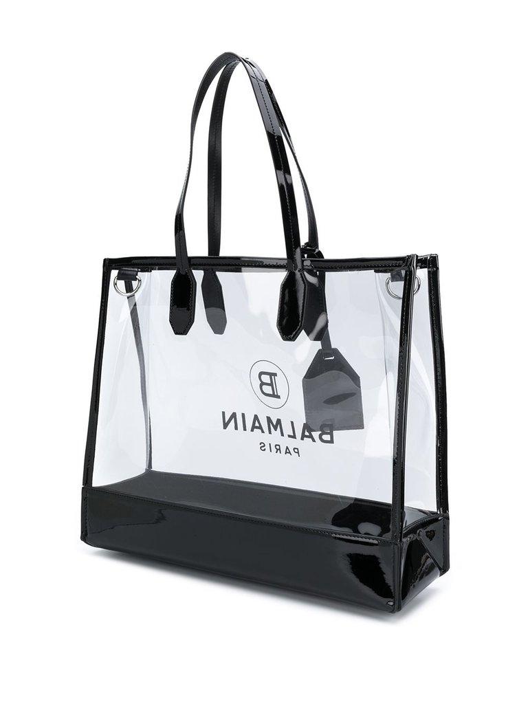 Balmain Balmain durchsichtige Tragetasche mit schwarzem Logo