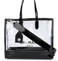 Balmain Balmain durchsichtige Einkaufstasche mit schwarzem Logo