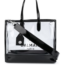 Balmain Balmain see through Tote bag with black logo print
