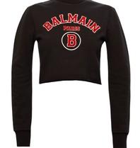 Balmain Balmain Kurzer Pullover mit Logo schwarz rot