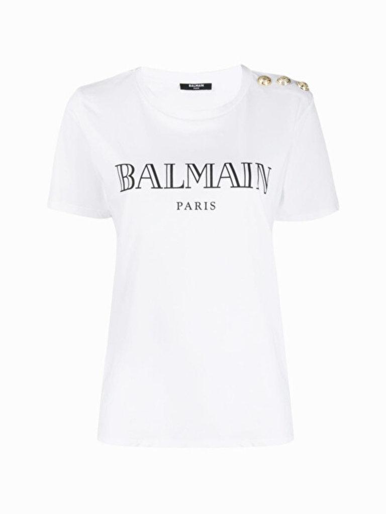 Balmain Balmain T-Shirt mit Logo-Print und goldfarbenen Knöpfen weiß