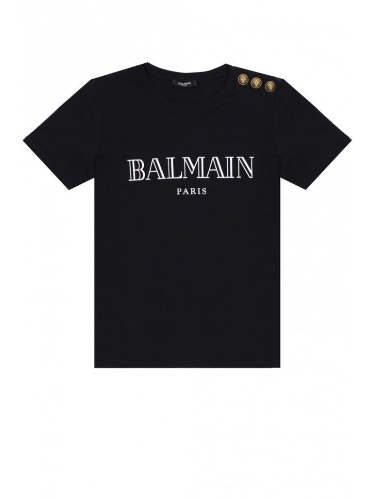 Balmain Balmain T-Shirt mit Logo-Print und goldfarbenen Knöpfen schwarz