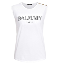 Balmain Balmain top with logo print and gold-colored buttons white