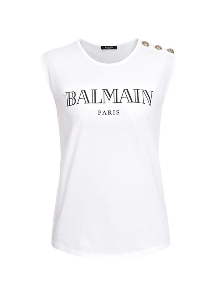 Balmain Balmain Top mit Logo Print und goldfarbenen Knöpfen weiß