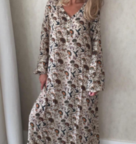 Est'seven Est'seven Paris maxi dress paisley bird print beige