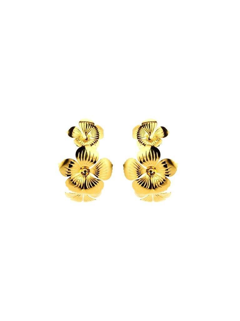 Souvenirs de Pomme Souvenirs de Pomme Floral Hoop oorbellen goud