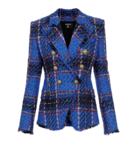Balmain Balmain Tweed Blazer mit zweireihigen Knöpfen blau schwarz