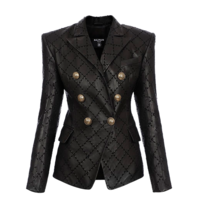 Balmain Balmain leather double-breasted blazer with black stitching