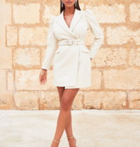 Lavish Alice Lavish Alice Puff boucle blazer dress with beige belt