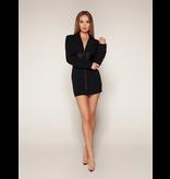 Luscious The Label Luscious The Label Kourtney mesh corset blazer jurk zwart