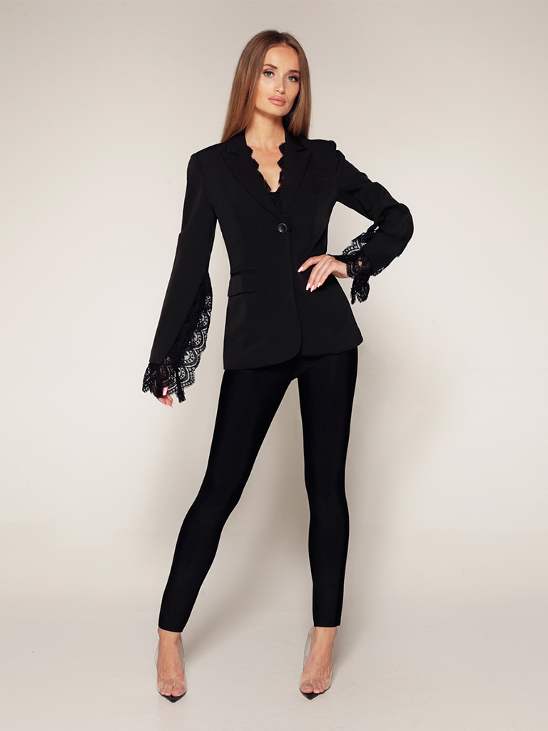 Luscious The Label Luscious The Label Jada Blazer met kant details zwart
