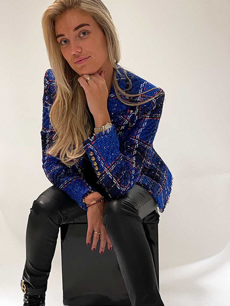Balmain Balmain tweed blazer with double-breasted buttons blue black