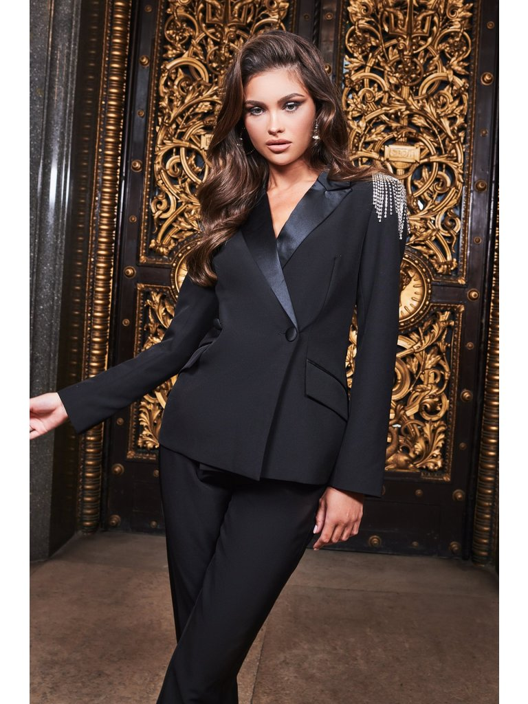 Lavish Alice Lavish Alice Ruby Tux blazer with black strass details