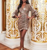 Lavish Alice Lavish Alice Ruby Holley sequin jurk met ballonmouwen goud