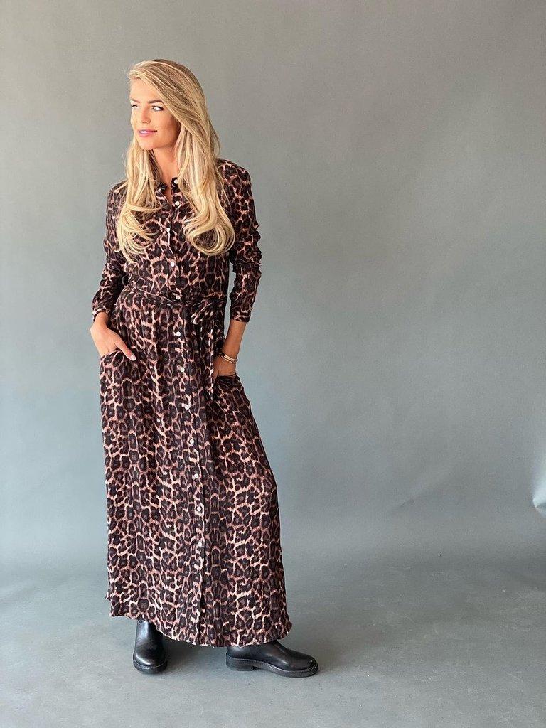 Est'seven Est'Seven Leopard fall rio maxi dress roze zwart