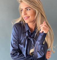 Est'seven Est'seven Satin stretch blouse blauw